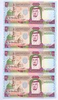 SAUDI ARABIA King Fahd Second Edition 100 RIYALS Lot 4 PCS Serial Numbers UNC  (Shipping Is $ 8.88) - Saudi Arabia
