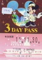 Carte Prépayée Japon * DISNEY * RESORT LINE (1615) * MICKEY * 3 DAY PASS * ADULT * 1100  YEN * JAPAN PREPAID CARD - Disney
