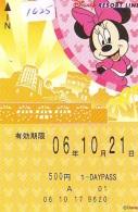 Carte Prépayée Japon * DISNEY * RESORT LINE (1625) * MINNIE MOUSE * 1 DAY PASS * ADULT * 500  YEN * JAPAN PREPAID CARD - Disney