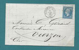 Napoléon YT#22 S/lettre D'OLORON-Ste-MARIE (Basses Pyrénées) Pour Un Mécanicien à VIERZON (Cher) -1865 - Marcophilie (Lettres)