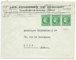 ENVELOPPE BANDE DE 3 CERES DE MAZELIN N° 680 2f VERT / PARIS QUAI DE VALMY / 1947 - Storia Postale