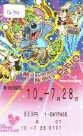Carte Prépayée Japon * DISNEY * RESORT LINE (1634) * MICKEY & MINNIE * 1 DAY PASS * ADULT * 650 YEN * JAPAN PREPAID  - Disney