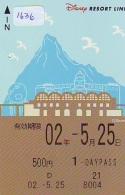Carte Prépayée Japon * DISNEY * RESORT LINE (1636) *  * 1 DAY PASS * ADULT * 500 YEN * JAPAN PREPAID CARD - Disney