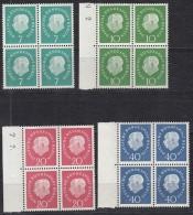 BRD  182-185 W, 4erBlock, Postfrisch **, Heuss Klein 1959 - Ungebraucht