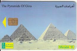 EGYPT - The Pyramids Of Giza, Menatel Telecard 10 L.E., Chip Incard 4, Used - Egypt