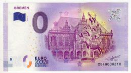 2017-1 BILLET TOURISTIQUE ALLEMAND 0 EURO SOUVENIR N°XEQH008218 BREMEN - EURO