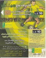 EGYPT(chip) - Football Player(glossy Surface, Thin CN), Menatel Telecard 10 L.E., Chip Incard 4, Used - Egypt