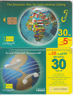EGYPT(chip) - Globe & Flags, Menatel Telecard 30 L.E., Chip Incard 4, Used - Egypt