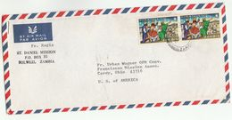 1974 Air Mail ZAMBIA St Daniel Mission Solwezi COVER Multi CHRISTMAS  Stamps To USA Religion - Zambia (1965-...)