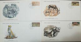 L) 1976 SOUTH AFRICA, ZEBRA, BONTEBOK, LEOPARD, BLACK RHINO, ANIMALS, FAUNA, NATURE, SET OF 4, WORLD WILDLIFE FUND, FDC - Stamps