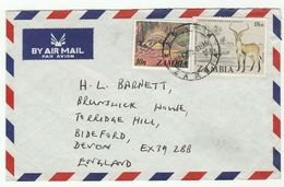 1979 Air Mail ZAMBIA COVER 18n ANTI POACHING ANTELOPE , 10n PANGOLIN  Stamps Wildlife Preservation Conservation Crime - Zambia (1965-...)