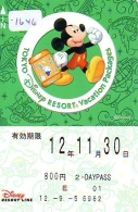 Carte Prépayée Japon * TOKYO DISNEY RESORT LINE (1646) MICKEY * 2 DAY PASS * ADULT * 800 YEN * JAPAN PREPAID CARD - Disney