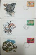 L) 1978 MONGOLIA, FAUNA, FELINE, WILD ANIMALS, OTOCOLOBUS MANUL, LYNX, PANTHERA,  WORLD WILDLIFE FUND, FDC, SET OF 3 - Mongolia