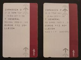 RENFE ESPAÑA. TREN ZARAGOZA - LLEIDA. 2 TICKETS DIFERENTES. - Trenes