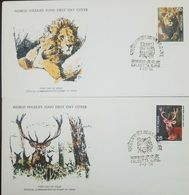 L) 1976 INDIA, LION, 50, FAUNA, NATURE, ANIMALS, SWAMP DEER, 25, WORLD WILDLIFE FUND, FDC, SET OF 2 - FDC