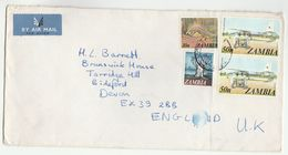 Air Mail ZAMBIA COVER Stamps FLYING DOCTOR SERVICE AIRCRAFT,  PANGOLIN To GB Health Medicine Aviation - Zambia (1965-...)