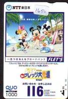 Carte Prépayée Japon * DISNEY FLET'S (1650) MICKEY MINNIE DONALD DUCK * 1000 YEN * JAPAN PREPAID CARD - Disney