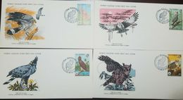 L) 1978 GAMBIA, NATURE, BIRDS, HAWK, OWL, NATURE, FAUNA, ANIMALS,  SET OF 4, WORLD WILDLIFE FUND, FDC - Gambia (1965-...)