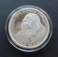 Congo, Gorilla 1 Oz 2015 Silver 999 Pure - 1 Oncia Argento Puro Bullion Scottsdale Mint - Kongo (Dem. Republik 1998)