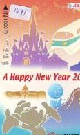 Carte Prépayée Japon * DISNEY RESORT LINE (1671) TRAIN * HAPPY NEW YEAR * JAPAN PREPAID CARD - Disney