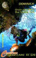 DOMINICA : 007E EC$20 Diver And Black Bar Fish  (very Small Crack) USED - Dominica