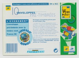 France : Pack De 10 Enveloppes Pré-timbrées Avec Le Timbre Rond France 98. - Entiers Postaux