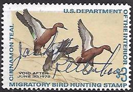 US  1971 RW38 $3 Cinnamon Teal Ducks Used   2016 Scott Value $8  RenaM - Canards