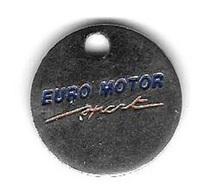 Jeton De Caddie Argenté  EURO  MOTOR  SPORT  Son Activité Est Le Commerce De Véhicules Automobiles  à   VILLERSEXEL (70) - Jetons De Caddies