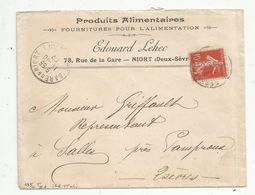 Lettre , 1907 , GARE DE NIORT , POITIERS , 2 Scans ,  Produits Alimentaires Edouard LEHEC - Storia Postale