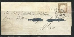 ANTICHI STATI ITALIANI ASI: PECIOLI 1861 SARDEGNA CENT. 10c BRUNO TENUE SU PIEGO FIRMATO SIGNED - Sardaigne