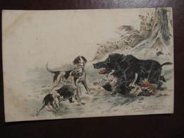 CPA - Illustrateur : RENE VALETTE - CHIENS ET SANGLIER - Hunting