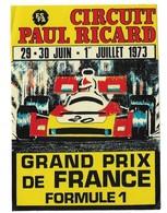 Autocollant - Courses Automobiles - Circuit Paul Ricard - 29-30/6 - 1/7 1973 - Grand Prix De France F 1 - 9 X12 Cm - - Stickers
