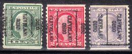 USA Precancel Vorausentwertung Preo, Locals Ohio, Cleveland 141, 3 Diff. 2 Cent Thin, Better Stamps - Vereinigte Staaten