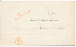 """PARIS BUREAU DES CONTRESEING LAC 1875 CONTRESEING """"CAISSE D'AMORTISSEMENT"""" - Marcophilie (Lettres)"""