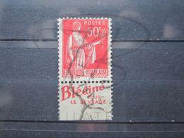 "VEND BEAU TIMBRE DE FRANCE N° 283 , TYPE IIA + BANDE PUBLICITAIRE "" BLEDINE "" !!! (c) - Advertising"