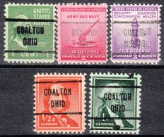 USA Precancel Vorausentwertung Preo, Locals Ohio, Coalton 721, 5 Diff. - Vereinigte Staaten