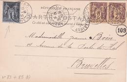 Timbre N°83 + 2x Timbre N°  85 - 1901 - Sur CPA De Verteuil - Le Château (Tour Du Nord) - Francia
