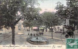 CPA [69] Rhône > Cours-la-Ville LA PLACE DE LA BOUVERIE  CARTE ANIMEE Circulée Timbre - Cours-la-Ville