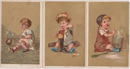 3 CHROMO'S-COLOREE-ENFANT-JOUANT-LITTLE CHILD-PLAYING-IMP.-O.ROSSEL-BRUXELLES-TRES RARE+-7-11 CM-VOYEZ 2 SCANS - Non Classés