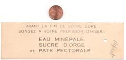 Petit Ticket De Pesée Médicale établissement Thermal Du MONT-DORE, Au Verso, Dessin De 2 Balances (63) Puy-de-Dome - Matériel Médical & Dentaire