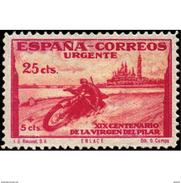 ES903STV-LTV***903STTMO.Spain.Esgane .RELIGION.VENIDA DE LA VIRGEN DE EL PILAR De ZARAGOZA.URGENTE.moto.1940.(Ed 903**) - Motos
