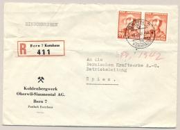 Schweiz - 1943 - 2x 20c Pro Patria On R-cover From Bern/Kornhaus To Spiez - Schweiz