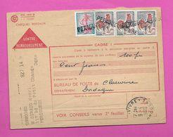 Carte Contre Remboursement COQ De Decaris 0.30  X 3 + Semeuse  Oblitération Linéaire PERIGUEUX - 1962-65 Cock Of Decaris