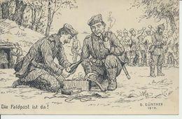 """AK Künstlerkarte """"Die Feldpost Ist Da"""" - Weltkrieg 1914-18"""
