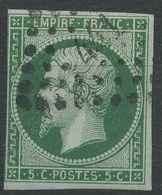 Lot N°40617  N°12c Vert Foncé/vert, Oblit PC 441 BORDEAUX (32), Sans Pli, Ni Clair - 1853-1860 Napoléon III