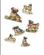 6 PETITS  DECOUPIS GAUFFRES CHIENS -  (BOULEDOG) - Animals