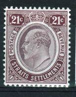 Straits Settlements 1906 King Edward VII Twenty One Cent Dull Purple And Claret Mounted Mint Stamp. - Straits Settlements