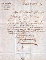 BELGIQUE - BRUXELLES - MAISON DE COMMISSION , 5 RUE DU COMMERCE - F. POUYDEBAT ET CIE - LETTRE - 1849 - Belgique
