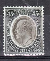Straits Settlements 1906 King Edward VII Forty Five Cent Dull Black/Green Mounted Mint Stamp. - Straits Settlements