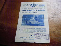 """Clermont Ferrand Route De Gerzat  Pub """"Voiturette Baby"""" VB60, Moteur 175 Cm3, Sans Permis De Conduire 225000 Francs - Publicités"""